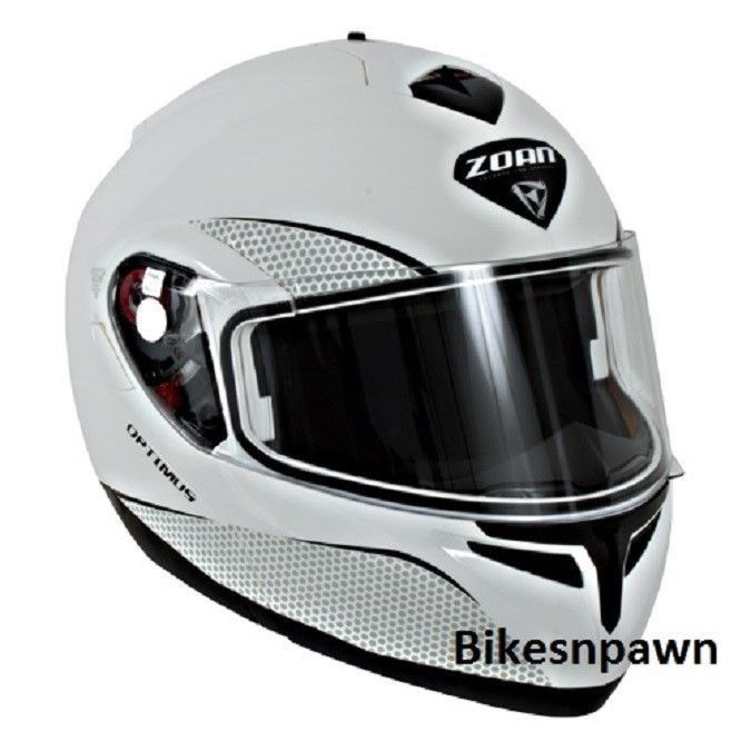 New L Zoan Optimus Gloss White Modular Motorcycle Helmet 038-006