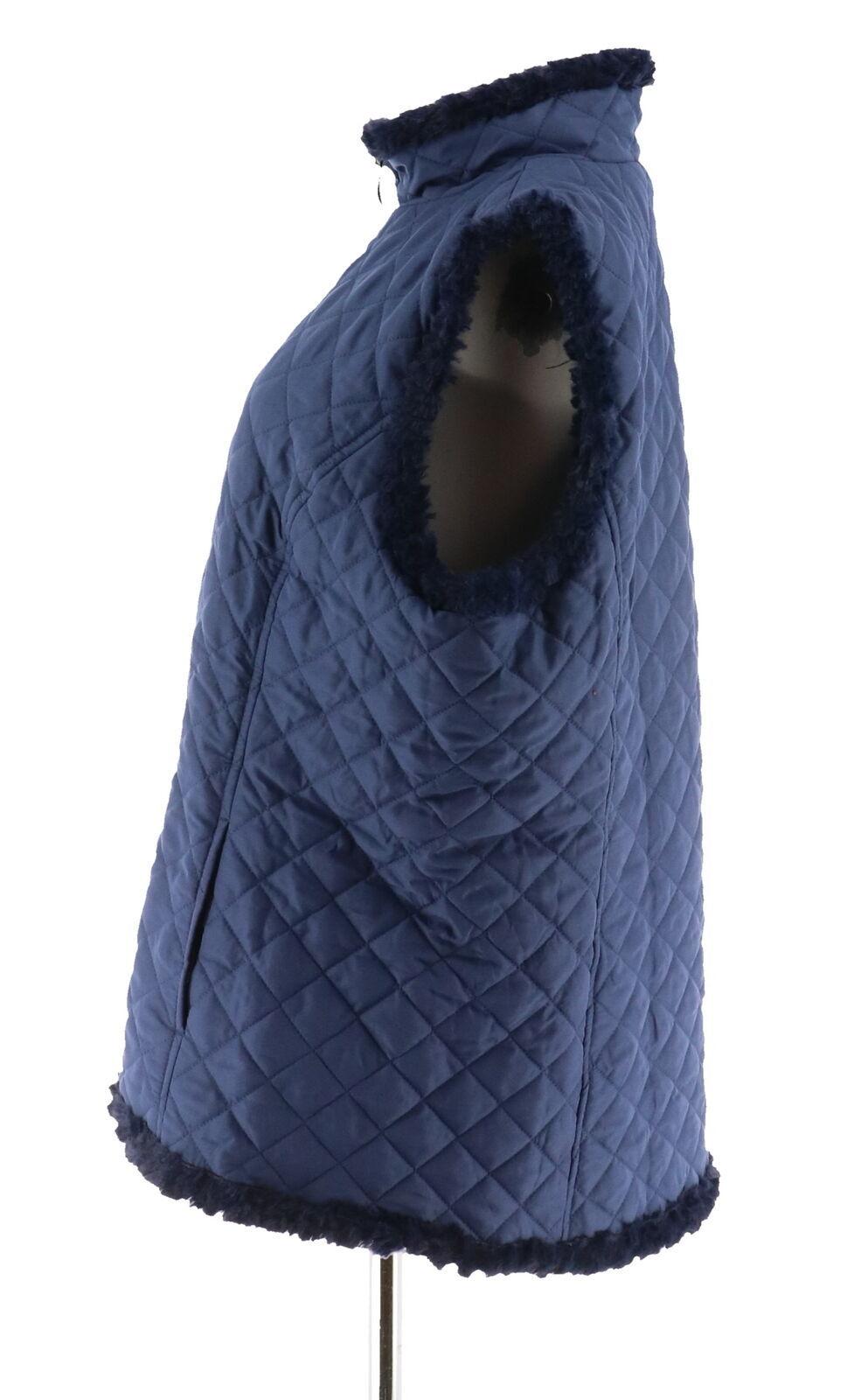 Denim & Co Reversible Zip Front Textured Quilted Vest Dark Indigo M NEW A282681 image 2