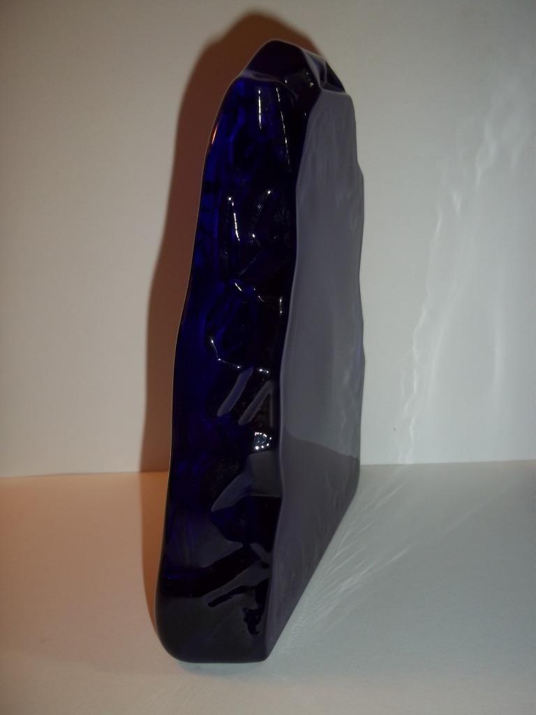 Fenton Glass Cobalt Tabby Cat Kitten Iceberg Paperweight Lt Ed M. Kibbe #2/4