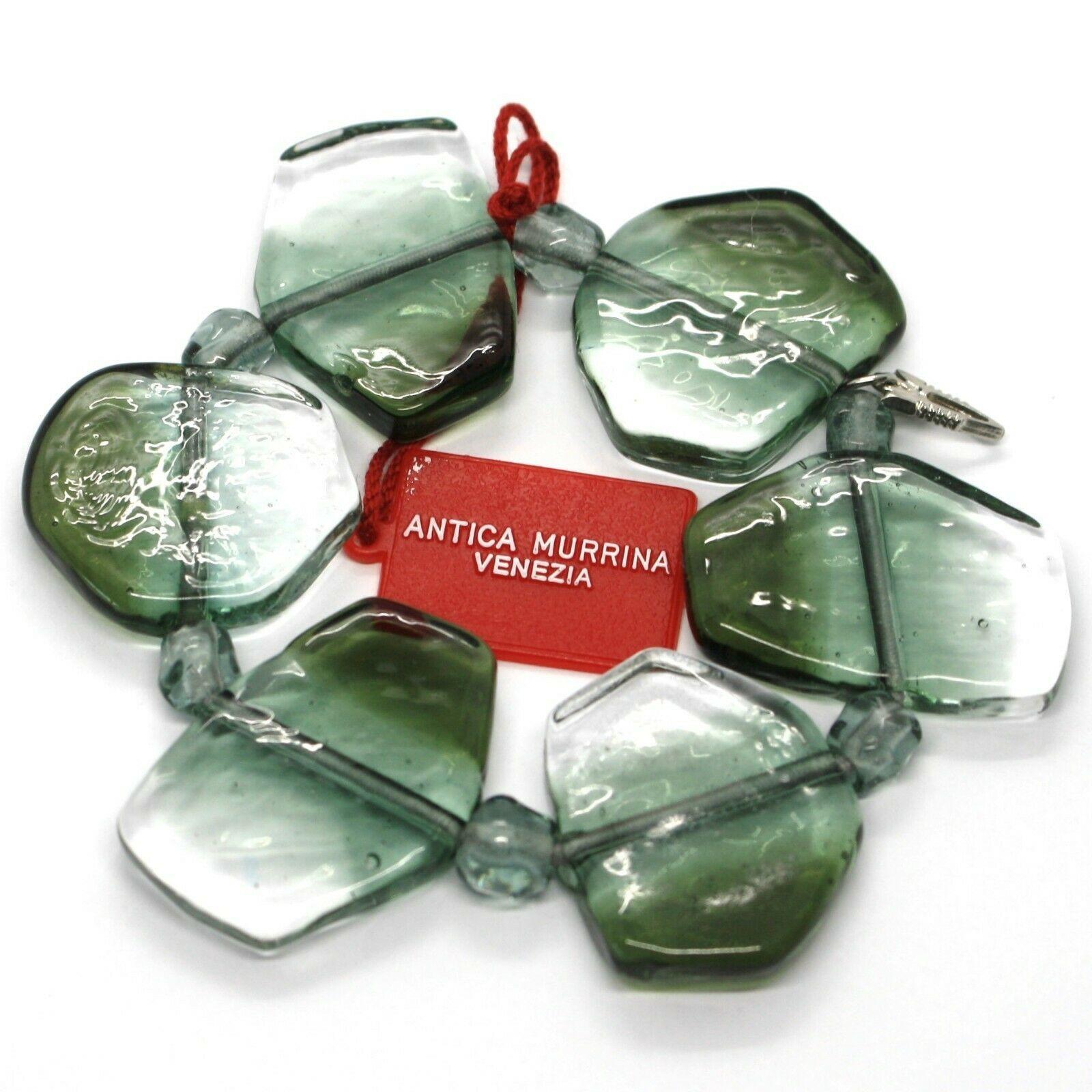 Bracelet Antica Murrina Venezia, Murano Glass, Chip Large Gray Green