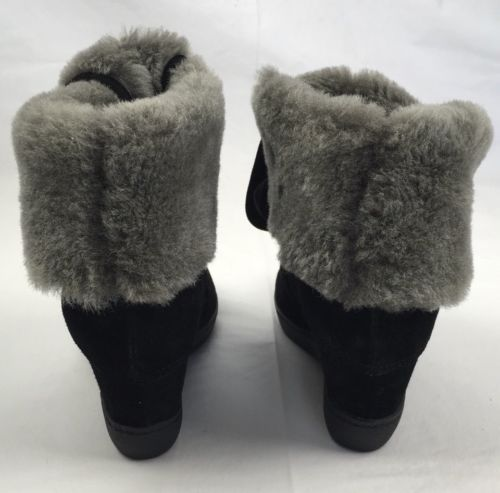 WOMENS ASH Brandy Genuine Lamb Fur Trimmed Black Wedge Lace Sneaker 37 EU 6.5 M
