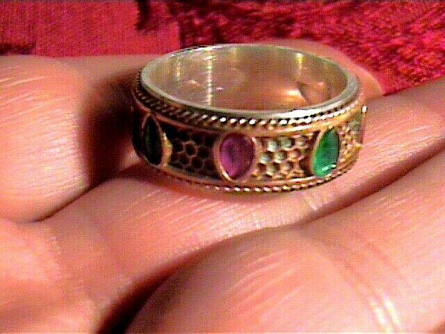 Sterling Silver 925 ring RUBY emerald NATURAL BAND florentine 9.5 VINTAGE OLD