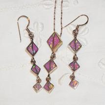 Vintage Studio Artist Sterling Vermeil Pink Opal Pendant Necklace Earrin... - $50.00