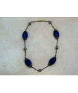 Vintage Art Deco Choker Necklace. Blue Stone Necklace On Silver Tone. - $40.00