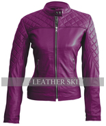 Leather Skin Women Purple Shoulder Quilted Genuine Leather Jacket - $179.99