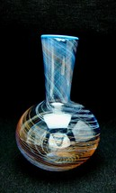 Vintage Blue & Orange Spun Swirling Threads Modernist Art Glass Vase   - $100.00