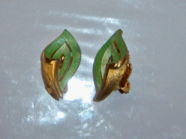 Vintage Green Clip On Leaf Earrings.  - $8.00