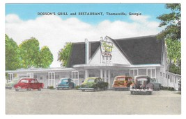 Georgia Thomasville Dodson's Grill & Restaurant Vintage Linen Postcard E... - $4.99