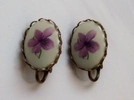 Vintage Clip On Earrings. White Ceramic Earrings. Purple Violet Flower E... - $10.00