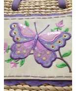 Women's Straw Handbag w/Embroidered Butterfly Placket on Front Zipper Cl... - $18.07