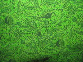 Green Outlines Florals on Brite Green Background Cotton Fabric  - $8.95