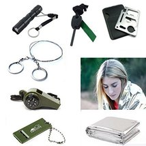 Camping Survival Whistle Blanket Fire Starter Wire Saw Knife Flashlight Torch