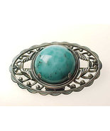 TURQUOISE BROOCH Pin in STERLING Silver - Vintage and Large - $65.00