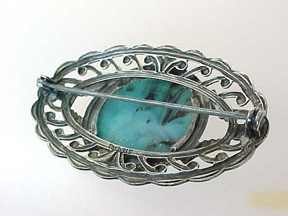 TURQUOISE BROOCH Pin in STERLING Silver - Vintage and Large