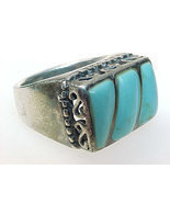 TURQUOISE Ring in STERLING Silver - Size 7 1/4 - Vintage - ₹5,265.37 INR