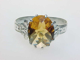 Genuine CITRINE Ring set in STERLING Silver - Size 7 - Vintage - $125.00