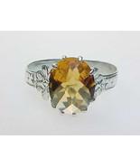 Genuine CITRINE Ring set in STERLING Silver - Size 7 - Vintage - $125.00
