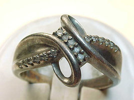Genuine DIAMOND Ring in STERLING Silver - Size 6 3/4 - Vintage - $95.00