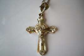 Christian Cross Necklace. Silver Tone Crucifix With Clear Crystals. - $12.00