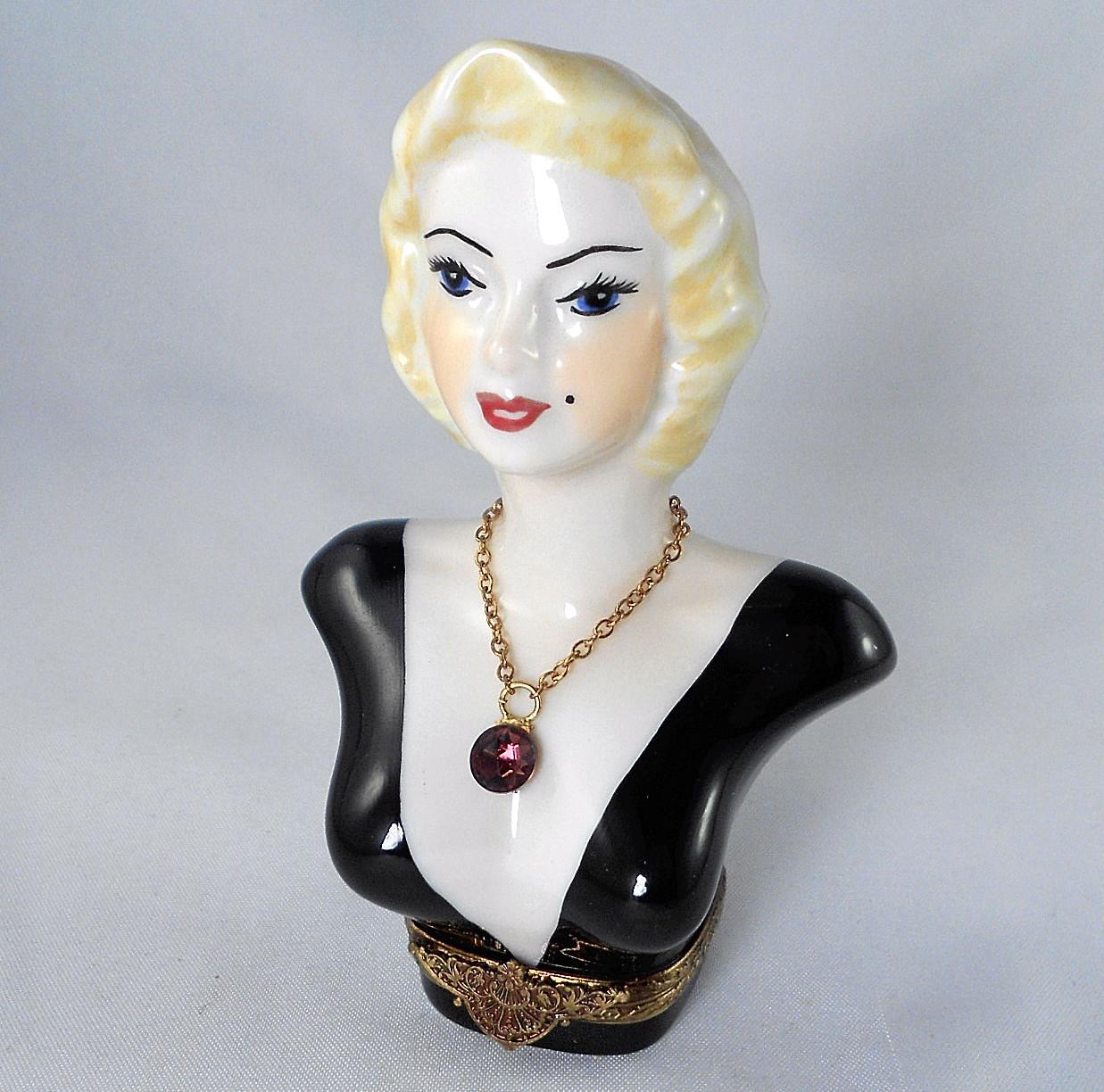 Limoges Box - Marilyn Monroe Bust & Necklace - Peint Main LE #6 - Sinclair