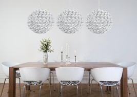 White Globe Orb Chandelier Shiny Coastal Urban Modern Contemporary Euro ... - $444.51