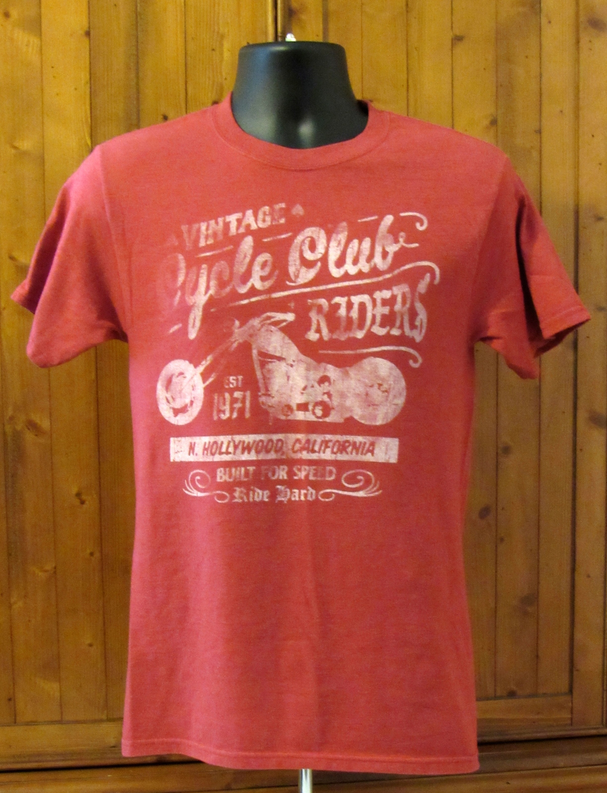 Hanes Men's Graphic Beefy Tee: Vintage Cycle Club Riders Red S: S (34/36) CH/P