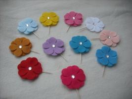 This Set of 24 Assorted Random Felt Flower with Jewel Center-Cake Topper... - $16.99