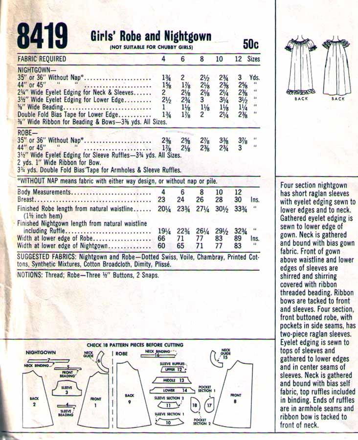 1966 Child's ROBE & NIGHTGOWN Pattern 8419-m Size 10 - UNCUT