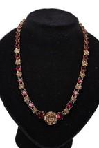 Authentic PRADA Gold Metal Red RHINESTONES Roses NECKLACE w/ BOX - $277.20