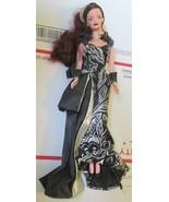 Barbie doll CHARITY BALL red auburn hair wearing black glittery gown & s... - $29.99