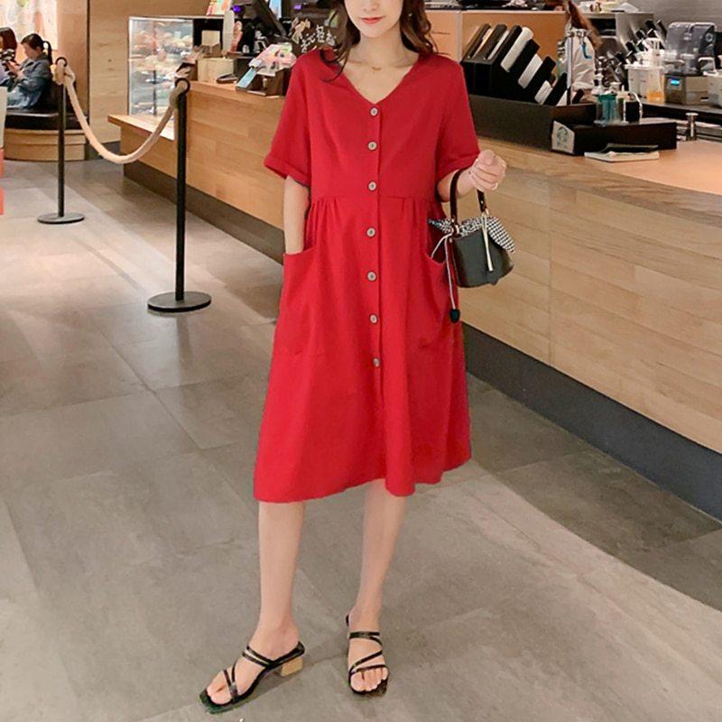 Maternity's Dress V Neck Short Sleeve Loose Solid Color Dress image 3