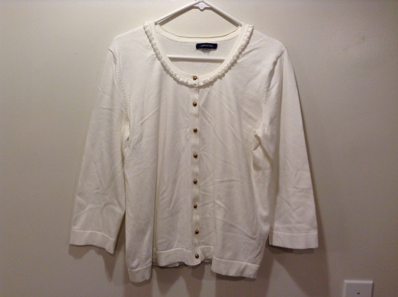 Lands' Ends White Button Up Scoop Neck Cardigan w Ruffled Collar