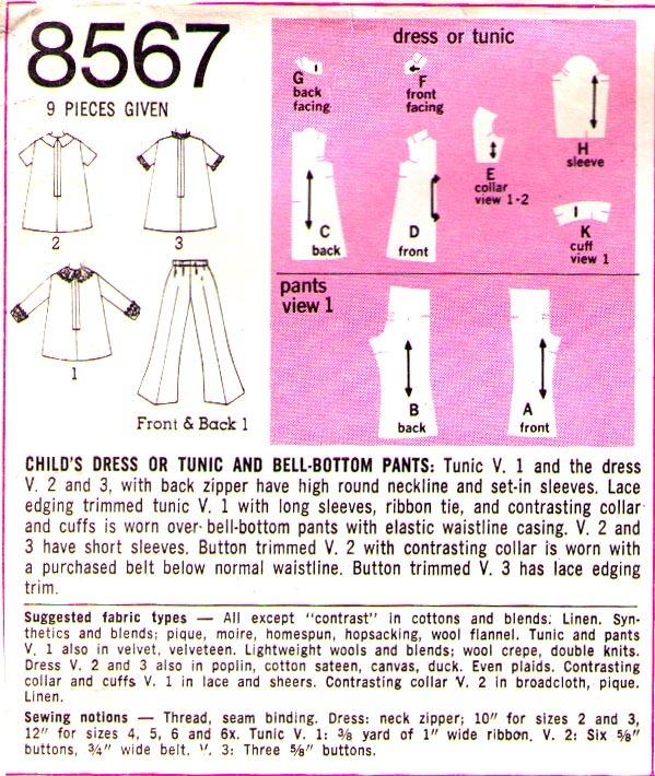 1969 DRESS & BELL BOTTOM PANTS Pattern 8567-s Child Size 3 - Complete