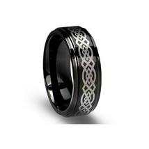 8MM Mens Womens Titanium Wedding Ring; Black, Celtic; Sizes 7-12 with Ha... - $24.95