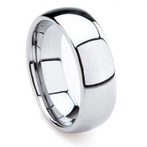 8mm Mens Tungsten Wedding Ring Band; Plain Dome Sizes 7-15 With Half-Sizes - $29.95