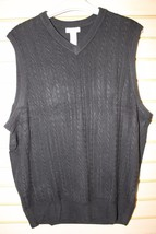 NEW MENS SIZE XLT XL TALL CROFT & BARROW BLACK PULLOVER SWEATER VEST MSR... - $19.34