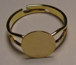100 GOLD PLATED Adjustable RING BLANKS 10mm pad... - $21.77