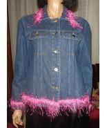 Vtg 70s 80s Blue Jean Jacket Pink Boa Fringe Trim Theater Stage Costume S-M - €8,36 EUR