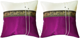 2 Thai Elephants Silk Decorative Pillow Cover for couch bed Plum Purple ... - $12.99
