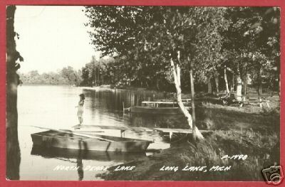 Long Lake MI North Dease Lake Boat Lady RP Postcard BJs