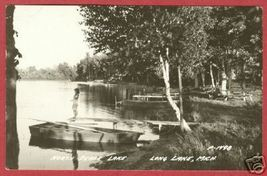 Long Lake MI North Dease Lake Boat Lady RP Postcard BJs - $12.50