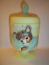 Fenton Glass Yellow SNUGGLES CHESSIE CAT BOX Covered Jar GSE LTD ED Kim ... - $232.32