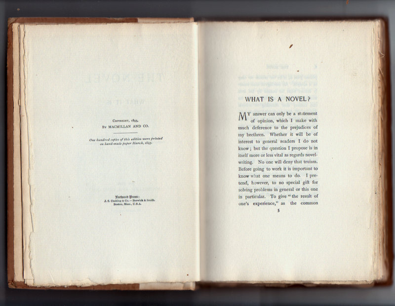 The novel: what it is, by F. Marion Crawford 1893 copy