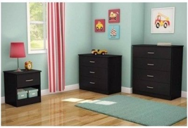 BLACK Bedroom Set 3 Piece Dresser Chest Nightst... - $296.00