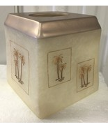 Brand New ceramic Resin square tissue cover beige / cooper Top palm trees - $24.74