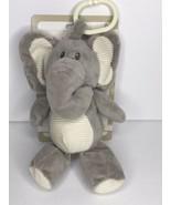 "Kellytoy Elephant Baby Clip On plush Toy Grey NEW Rattle 9"" - $13.97"