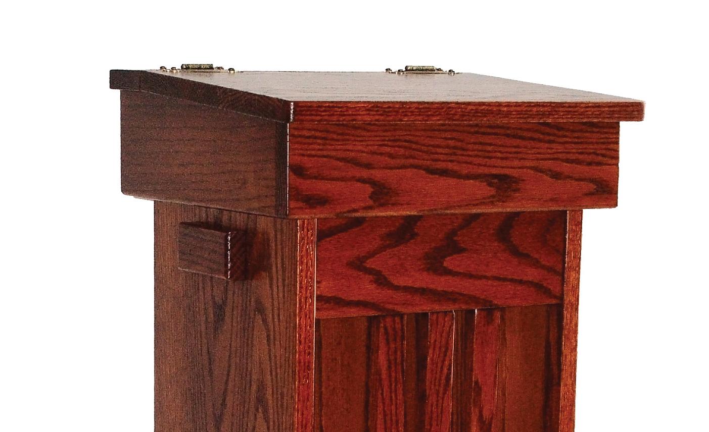 Solid Oak Hinge Top Trash Bin- Finest Amish Craftsmanship ...