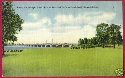 DETROIT MICHIGAN Belle Isle Bridge Gabriel Pk Linen MI