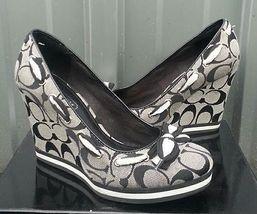 authentic coach wedge shoe signature c black and gray women us size 5 MB medium - $59.99