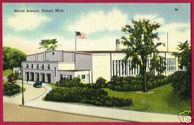 DETROIT MICHIGAN Naval Armory Jefferson Ave Linen MI